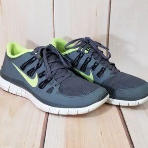 Nike Free 5.0 Trainer Gray & Neon Running Shoes